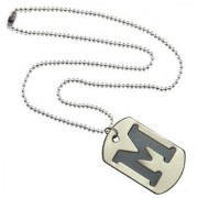 Men Style Alphabet M Letter Silver And Black 318 L stainless Steel Square Pendent For Men And Women