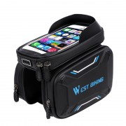 WEST BIKING Bicycle Front Frame Bag Cycling Waterproof Screen Touch Top Tube Phone Bag - Blue