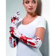 Vita Långa Handskar med Blodstänk