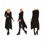Women's Isaac Liev Women's Extra Long Cardigan Duster S-3X Black 2X-Large