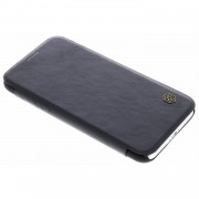 Zwarte Qin Leather slim booktype hoes voor de iPhone X