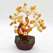 Copac in ghiveci cu pietre de calcit galben - 14cm