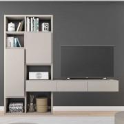 Fernseher Regal in Beige Türen und Schubladen