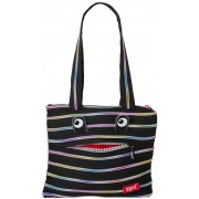 Geanta de umar Monsters Tote ZIP...IT - negru/fermoar curcubeu