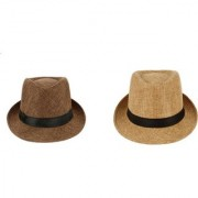 Tahiro Beige And Brown Cotton Fedora Hat - Pack Of 2