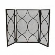 Noble House Pleasants Modern Black and Gold Three Panel Iron Fire Screen