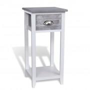 vidaXL Mesa de cabeceira com 1 gaveta, cinzento e branco