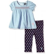 U.S. Polo Assn. Conjunto de Playera y Leggings para niñas, Cap Sleeves Patterned Legging Peacoat, 3-6 Meses