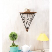 Onlineshoppee Wooden Wrought Iron Wall Bracket Size (LxBxH-13.5x8x16.5) Inch
