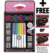 Butterfly: Magic Velvet Pattern Reveal Scenes + FREE Melissa & Doug Scratch Art Mini-Pad Bundle [53945]