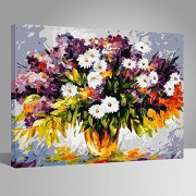with wood frame, flower-145: Wood Frame, Paint by Numbers DIY Oil Painting Flowers Canvas Print Wall Art Home Decoration by Rihe