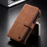 CASEME 007 Series 14 Slots Detachable 2-in-1 Split Leather Wallet Case for Huawei P30 Lite/nova 4e - Brown