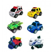 Junior Racers PushNGo Vehicles Sets (2 in Each Set) - Ambulance, Life Guard Rescue Unit, 4T Racer, Baja Racer, Rail King and Sky Airline - Bundle of 3
