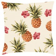 Tropical Pineapple Repeat Cushion - Cream - Faux Suede - Cream