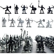 60 pcs/lot Sliver Black Warriors Medieval Soldiers Military Figures Toy Archaic Soldiers Middle Ages Viking Soldiers
