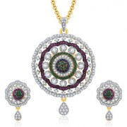 Sukkhi Enchanting Gold And Rhodium Plated CZ Pendant Set For Women