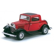 Playking Kinsmart 1:34 1932 Ford 3-Window Coupe Pull Back Die-Cast Car With Openable Door (5 inch) Assorted