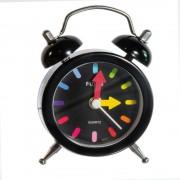 Ceas desteptator negru cu cadran colorat