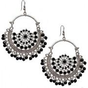 Lucky Jewellery Trendy Black Silver Oxidised Plating Afghani Earring For Girls & Women