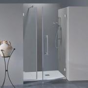 Porta doccia con fisso in linea Simona da 100 cm in cristallo 8 mm Sabbiato Lampi DX