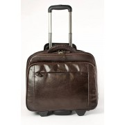 Babila Leather Laptop Cabin Size Trolley Briefcase Overnight Bag - Dark Brown