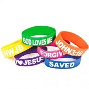 Wholesale Rubber Religious Big Band Bracelets God Loves Me, I Love Jesus, Saved, Forgiven, John 3:16