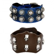 Casual Burnt Blue Black 100 Genuine Handcrafted Funky Punk Dark Brown Leather Combo Pack Of 2 Bracelet Boys Men
