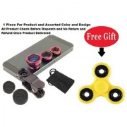 Mobile camera Lens 3 in 1 with Free FIDGET SPINNER ( Assorted Color )