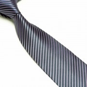 """Black/Purple Striped Microfibre Tie"""