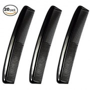20 PACK! Hotel Quality Hair Comb Set Pocket Size for Men 6 long - Hairdressing Grooming and Styling Combs for Hair or Beard Detangling - Durable Plastic Black