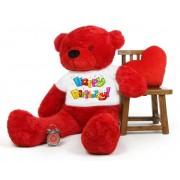 Red 5 feet Big Teddy Bear wearing a Happy Birthday T-shirt