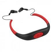 Deporte impermeable auricular recargable en el oido Reproductor de MP3 con radio FM - negro + rojo (8 GB)