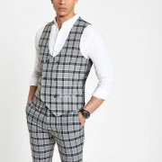 River Island Mens Grey check double-breasted waistcoat (38)