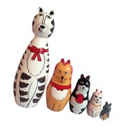 NF&E Set of 5 Painted Wooden Cat Family Nesting Dolls Matryoshka Russian Doll Kids Gift