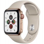 Ceas Smartwatch Apple Watch Series 5, GPS + Cellular, 40mm Gold Stainless Steel Case, Stone Sport Band