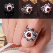 Hombres Mujeres Vintage Style Silver Tone Eye Rings Punk Carving Rings Jewelry-21