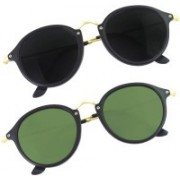 Phenomenal Cat-eye, Round Sunglasses(Black, Green)