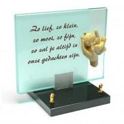 Glasmonument 23x18cm: Zo lief, zo klein, zo mooi, zo fijn — Voorbeeld tekst / Antraciet