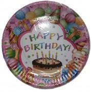 Papír tányér 6 db/cs - happy birthday tortás