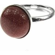 Inel argint reglabil cu Piatra Soarelui maro 10 MM GlamBazaar Reglabila cu Piatra Soarelui Maro tip inel reglabil de argint 925 cu