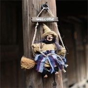 Halloween Witch Hanging Welcome Sign Pendent Bar Party Decorations Popular For Fabric Witch In Swing Decoration