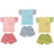 Jo kids wear Baby Boy Cotton Dress Set (Top and Shorts) Multi Color Set of 3