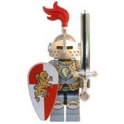 King's Knight (Lion Champion) - LEGO Kingdoms Castle Minifigure with Full Armor and Giant Chrome Sword