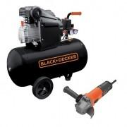 Compresor orizontal Black+Decker 50l, 2CP, 8bar, 210l/min + Polizor unghiular Black+Decker 750W 115mm – BD 205/50+BEG110