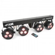MAX LED PAR-Bar Set de 4 vías kit 3 x 4 en 1 LED RGBW incluye barra T y soporte (150.485)