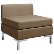 vidaXL Модулен среден диван с възглавница, текстил, кафяв