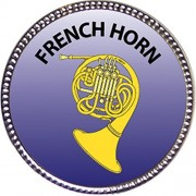 French Horn Award, 1 inch dia Silver Pin 'Musical Instrument Masteries Collection' by Keepsake Awards