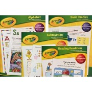 Crayola Workbook Set of 4 - Pack of 4 Pre-k - 1st Grade Activity Workbooks-Learn; Letters Numbers Phonics, Subtraction, Reading the Alphabet. Crayola Pre Kindergarden First Grade Four Work Books.