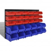 vidaXL Wall Mounted Garage Plastic Storage Bin Set 30 pcs Blue & Red