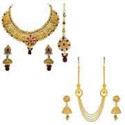 Om Jewells Traditional Ethnic Antique Gold Plated Combo of 3 Necklace Set with Kundan Artificial Pearls CO1000012